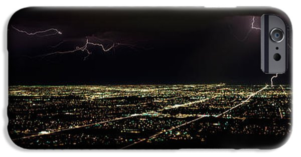 Images Lightning iPhone Cases - Lightning In The Sky Over A City iPhone Case by Panoramic Images