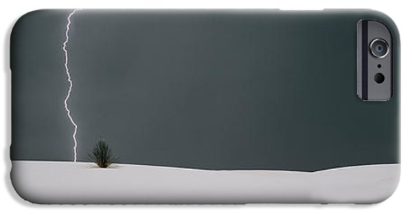 Images Lightning iPhone Cases - Lightning In The Sky Over A Desert iPhone Case by Panoramic Images