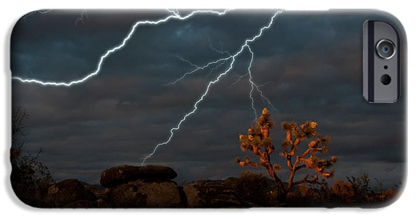Harsh Conditions iPhone Cases - Lightning, Joshua Tree Highway iPhone Case by Mark Newman