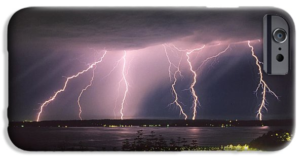 Storm Photographs iPhone Cases - Lightning iPhone Case by King Wu
