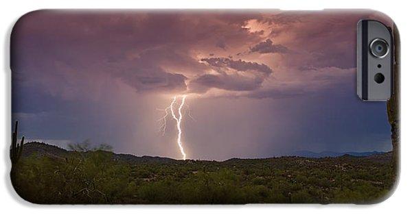 Natural Forces iPhone Cases - Lightning Lights Up the Desert  iPhone Case by Saija  Lehtonen