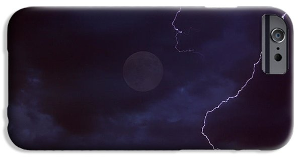 Eerie iPhone Cases - Lightning Moon iPhone Case by Bob Hislop