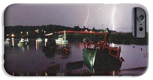 Garrison Cove iPhone Cases - Lightning over Cribstone Bridge iPhone Case by Donnie Freeman