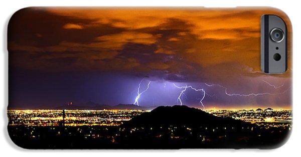 Natural Forces iPhone Cases - Lightning Over Phoenix  iPhone Case by Saija  Lehtonen