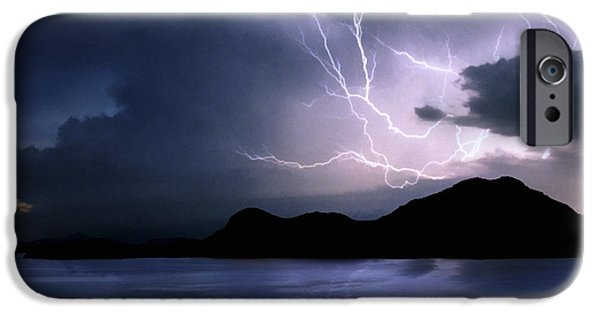 Electrical iPhone Cases - Lightning over Quartz Mountains - Oklahoma iPhone Case by Jason Politte