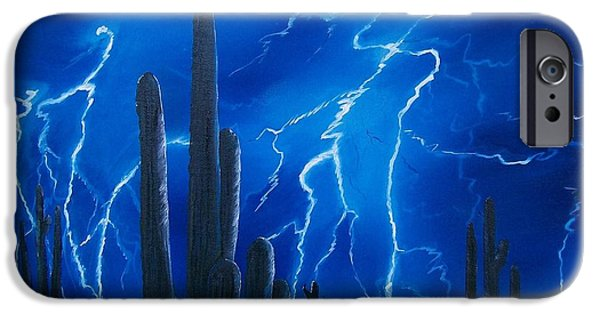 Electrical iPhone Cases - Lightning  over the Sonoran iPhone Case by Sharon Duguay