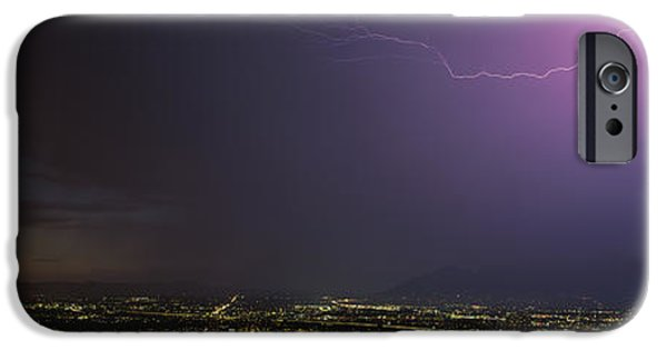 Lightning Bolts iPhone Cases - Lightning Storm At Night iPhone Case by Panoramic Images