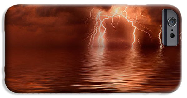 Storm iPhone Cases - Lightning Storm Over The Sea iPhone Case by Panoramic Images