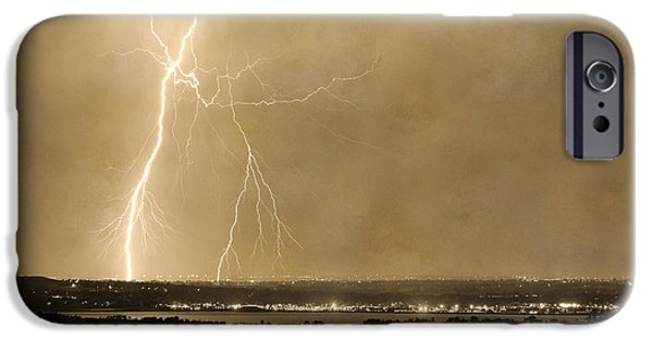 The Lightning Man iPhone Cases - Lightning Strike Boulder Reservoir and Coot Lake Sepia 2 iPhone Case by James BO  Insogna