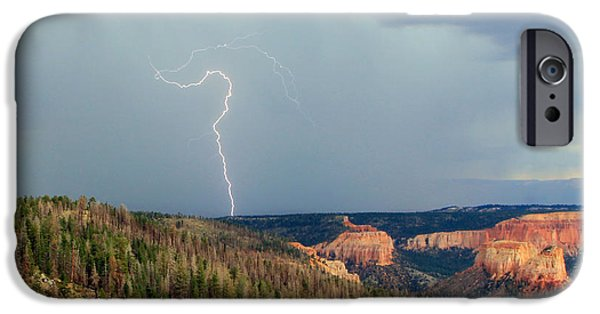 Lightning Bolts iPhone Cases - Lightning Strike in Bryce Canyon. iPhone Case by Johnny Adolphson