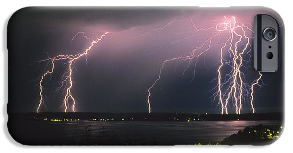 Rain Storms iPhone Cases - Lightning Strike iPhone Case by King Wu