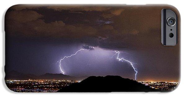 Natural Forces iPhone Cases - Lightning Strikes Phoenix  iPhone Case by Saija  Lehtonen