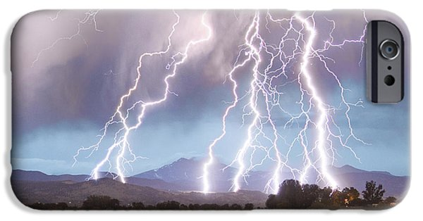 James Bo Insogna iPhone Cases - Lightning Striking Longs Peak Foothills 4C iPhone Case by James BO  Insogna
