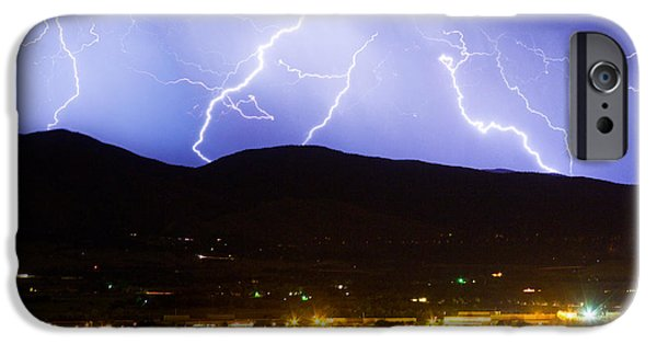 Lightning Images iPhone Cases - Lightning Striking Over IBM Boulder CO 3 iPhone Case by James BO  Insogna