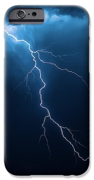 Bolts iPhone Cases - Lightning with cloudscape iPhone Case by Johan Swanepoel