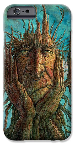 Whimsy Paintings iPhone Cases - Lightninghead iPhone Case by Frank Robert Dixon