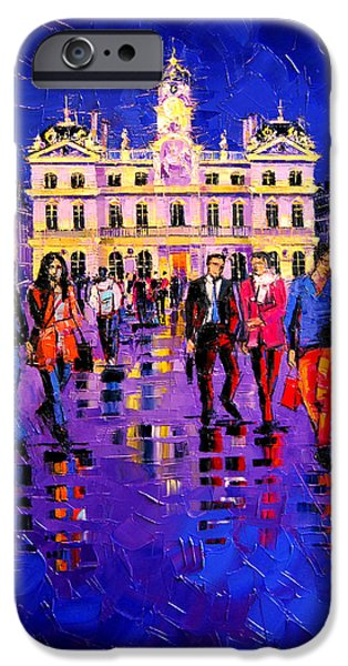 Facade iPhone Cases - Lights And Colors In Terreaux Square iPhone Case by Mona Edulesco