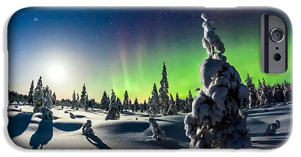 Snowy Night iPhone Cases - Lights of Winter iPhone Case by Mikko Karjalainen