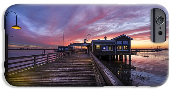 Sailboat Ocean iPhone Cases - Lights on the Dock iPhone Case by Debra and Dave Vanderlaan