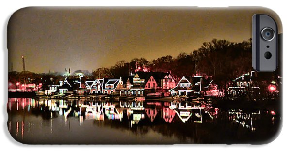 Row Boat Digital iPhone Cases - Lights on the Schuylkill River iPhone Case by Bill Cannon