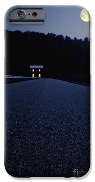 Moon iPhone Cases - Lights on up ahead iPhone Case by Edward Fielding