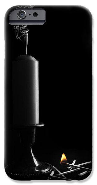 Candle Lit iPhone Cases - Lights Out Still Life iPhone Case by Tom Mc Nemar