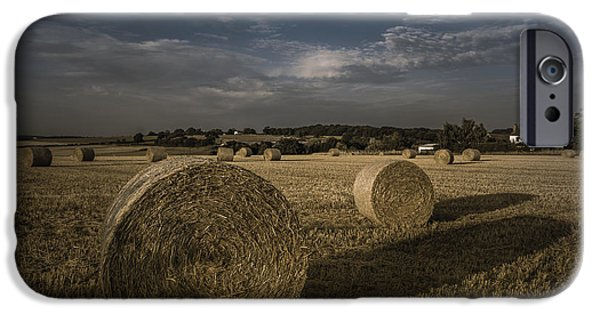 Hay Bales iPhone Cases - Like a moonlight shadow iPhone Case by Chris Fletcher