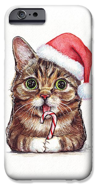 Christmas Mixed Media iPhone Cases - Lil Bub Cat in Santa Hat iPhone Case by Olga Shvartsur