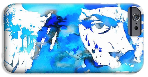 Michael Mixed Media iPhone Cases - Lil Wayne Blue Paint Splatter iPhone Case by Dan Sproul