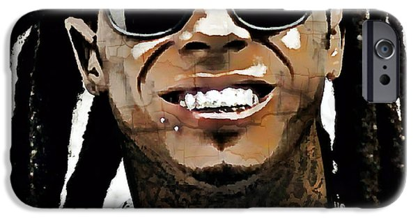 Smiling Mixed Media iPhone Cases - Lil Wayne Smiles iPhone Case by Daniel Hagerman