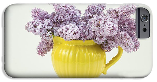 Lilac Flower iPhone Cases - Lilac Boquet - Yellow Vase iPhone Case by Keith Webber Jr