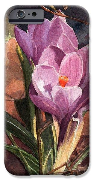 Botanic Illustration iPhone Cases - Lilac Crocuses iPhone Case by Greta Corens