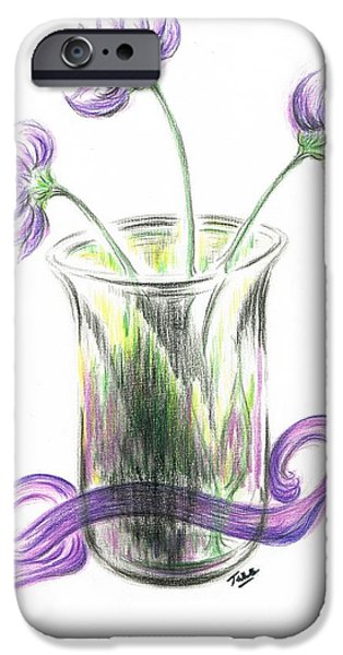 Lilacs Drawings iPhone Cases - Lilac flowers  iPhone Case by Teresa White