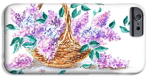 Invitations Paintings iPhone Cases - Lilac Vintage Impressionism Painting iPhone Case by Irina Sztukowski