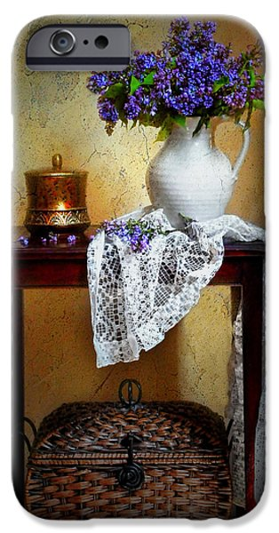 Still Life With Pitcher iPhone Cases - Lilacs and Lace iPhone Case by Diana Angstadt