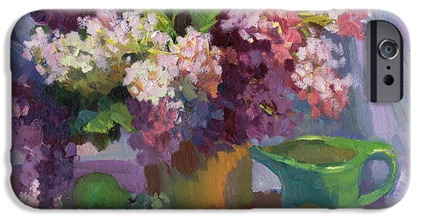 Pears iPhone Cases - Lilacs and Pears iPhone Case by Diane McClary