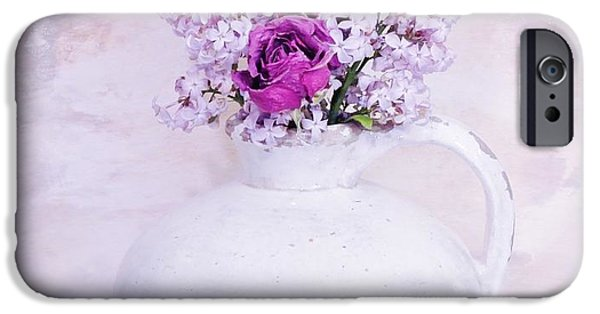 Wrap Digital Art iPhone Cases - Lilacs and Roses iPhone Case by Marsha Heiken