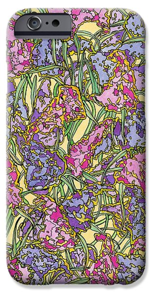 Lilacs Drawings iPhone Cases - Lilacs Electric iPhone Case by Mag Pringle Gire