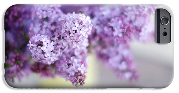 Lilacs iPhone Cases - Lilacs in a Vase iPhone Case by Rebecca Cozart