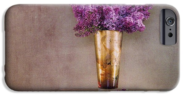 Lilacs iPhone Cases - Lilacs in Vase 1 iPhone Case by Rebecca Cozart