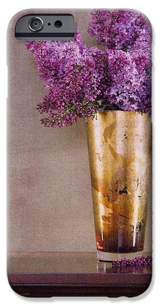 Lilacs in Vase 1 iPhone Case by Rebecca Cozart