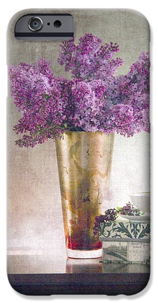 Lilacs iPhone Cases - Lilacs in Vase 2 iPhone Case by Rebecca Cozart