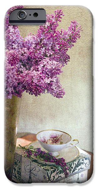 Lilac Flower iPhone Cases - Lilacs in Vase 3 iPhone Case by Rebecca Cozart