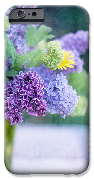 Lilacs iPhone Cases - Lilacs on the Table iPhone Case by Rebecca Cozart