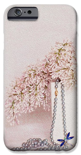 Lilacs iPhone Cases - Lilacs Pearls and a Bit of Sparkle iPhone Case by Rebecca Cozart