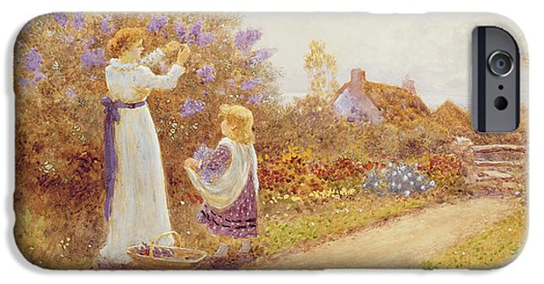 Young Paintings iPhone Cases - Lilacs iPhone Case by Thomas James Lloyd