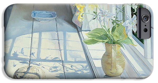 Window Paintings iPhone Cases - Lilies and a Straw Hat iPhone Case by Timothy Easton