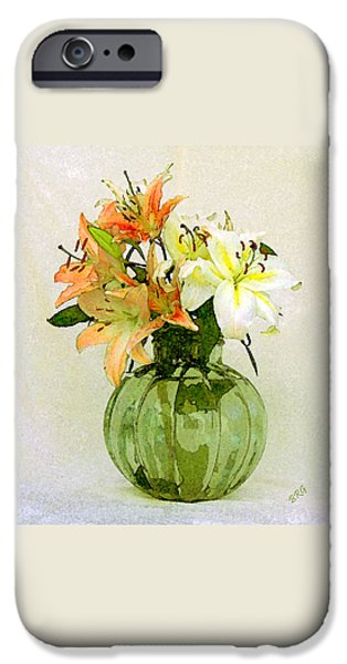 Asiatic Lily iPhone Cases - Lilies In Vase iPhone Case by Ben and Raisa Gertsberg