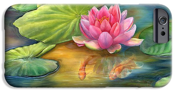 Garden Scene Paintings iPhone Cases - Lilly Pond iPhone Case by Kathy Brecheisen