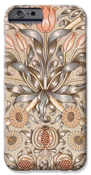 Lily and Pomegranate wallpaper design iPhone Case by William Morris